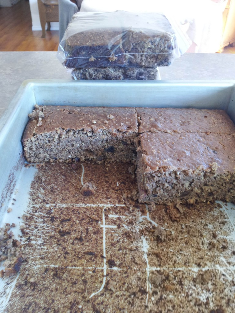Trail cake. It's my own healthy recipe and includes oatmeal, flour, sugar, whey, soy, oat bran, wheat germ, ground flax, raisins, craisins and ground sunflower seeds. I made over 400 pounds of it which is vacuum packed and stored in twenty pound boxes. I will have it shipped to me by bus when and where needed.