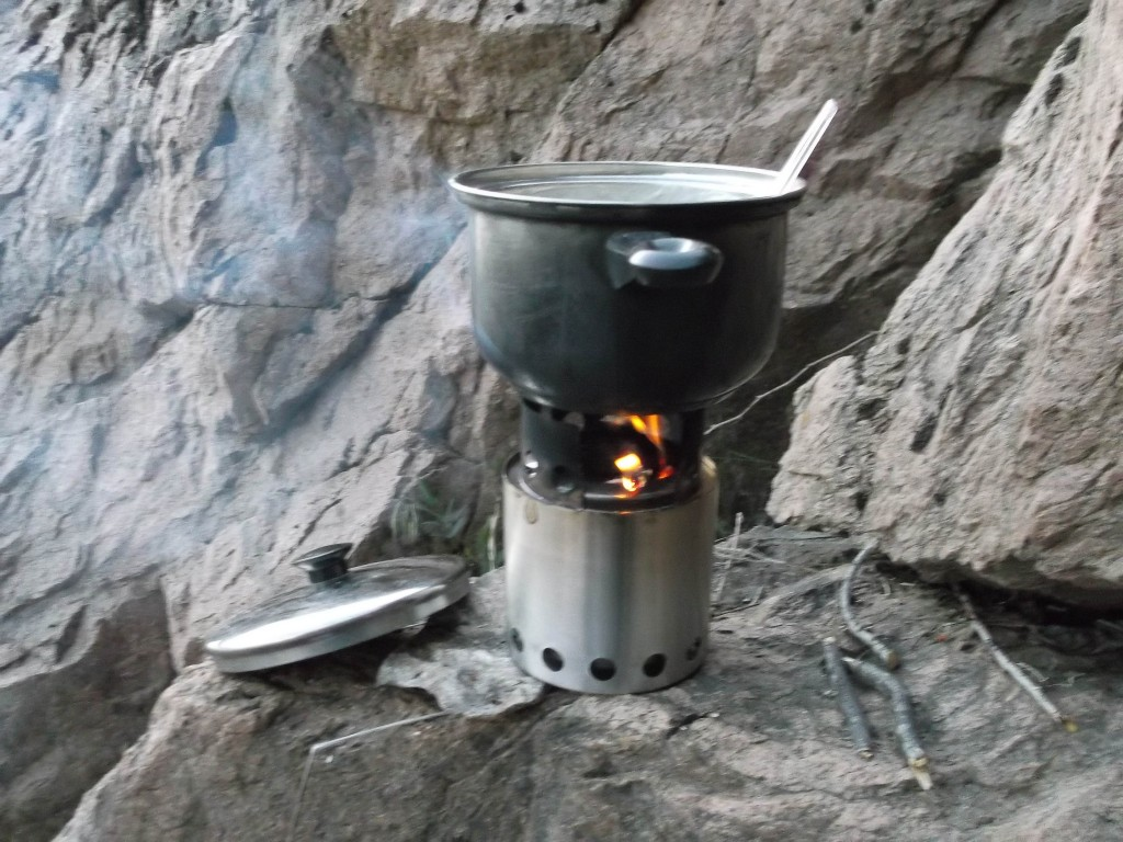 My cookstove. It has a drop in alcohol burner but can also burn wood as it is here.